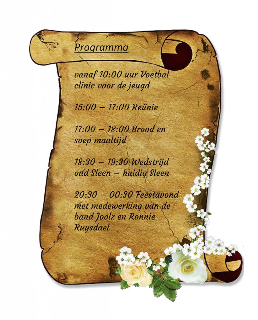 Programma 75 jarig jubileum VV Sleen